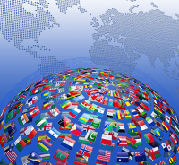International flags in front of a world map background