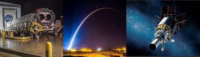 A collage of images with space, launch, and rocket prep.